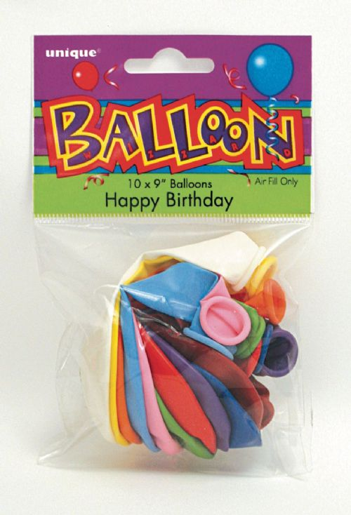 Happy Birthday - 9 inch - Assorted Pack of 10
